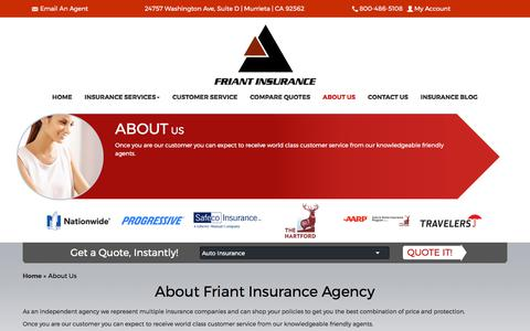 Screenshot of About Page friantinsurance.com - About Friant Insurance Agency | 24757 Washington Ave, Suite D, Murrieta, CA 92562 - captured Oct. 14, 2017