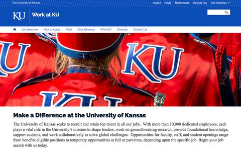 Screenshot of Jobs Page ku.edu - Homepage | Work at KU - captured Sept. 21, 2018