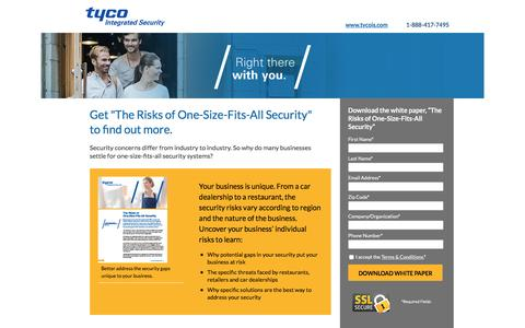 Screenshot of Landing Page tycois.com - Tyco Integrated Security - captured June 11, 2016