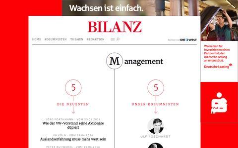 Screenshot of Team Page bilanz.de - Management | BILANZ - captured June 26, 2016