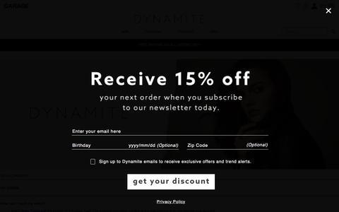 Screenshot of FAQ Page dynamiteclothing.com - FAQ – E-Commerce - captured Sept. 15, 2016