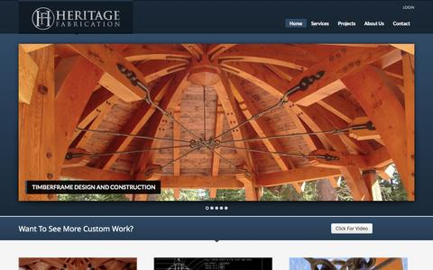 Screenshot of Home Page heritagefab.com - Heritage Fabrication | Timberframe and Custom Ironwork Call (406) 777-3575 | - captured Oct. 2, 2014
