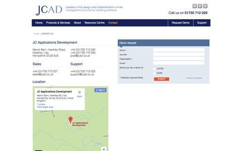 Screenshot of Contact Page jcad.co.uk - Contact Us |       JCAD - captured Feb. 2, 2016