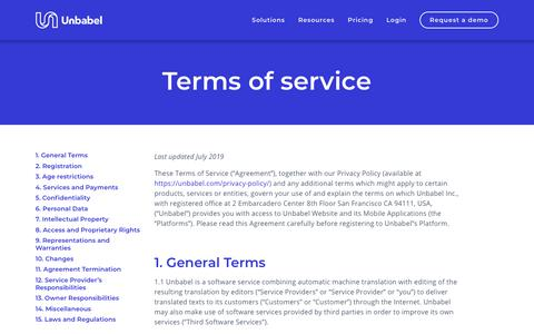 Screenshot of Terms Page unbabel.com - Terms of Service | Unbabel - captured Nov. 12, 2019