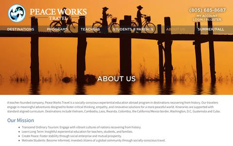 Screenshot of About Page peaceworkstravel.com - About Our Educational Student Travel & Summer Study Abroad Programs - captured July 5, 2018