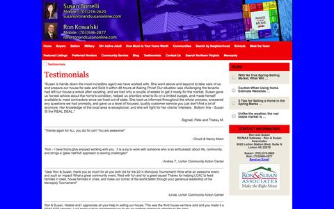 Screenshot of Testimonials Page northernvirginiaselectproperties.com - Testimonials - captured Oct. 6, 2014
