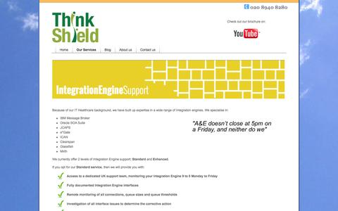 Screenshot of Support Page thinkshield.com - ThinkShield - IT for Healthcare - Integration Engine Support - captured Oct. 7, 2014