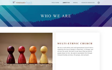 Screenshot of About Page thevc.org - The Vineyard Church of Hyde Park | Who We Are - captured Sept. 30, 2018