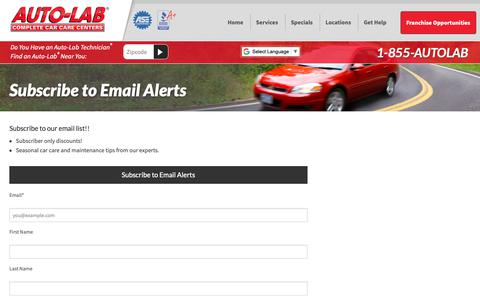 Screenshot of Signup Page autolabusa.com - Subscribe to Email Alerts - Auto-Lab Complete Car Care Centers - captured Oct. 4, 2018