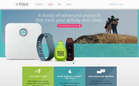 Screenshot of Home Page fitbit.com - Fitbit® Official Site: Flex, One and Zip Wireless Activity and Sleep Trackers - captured July 12, 2014