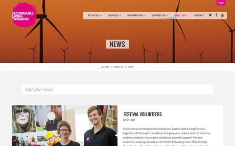 Screenshot of Press Page slt.org.au - News - Sustainable Living Tasmania - captured Aug. 14, 2015