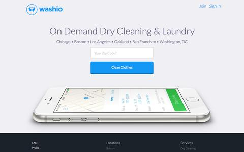 Screenshot of Home Page getwashio.com - Washio | Dry Cleaning and Laundry Delivered - captured Nov. 9, 2015