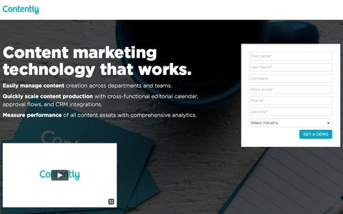 Screenshot of Landing Page contently.com - Content Solutions - Contently - captured April 16, 2017