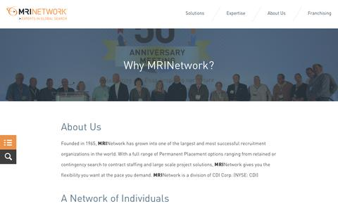 Screenshot of About Page mrinetwork.com - MRINetwork - Permanent, temporary and contract staffing solutions globally - MRINetwork - Experts in Global Search & Recruitment - captured Aug. 29, 2016