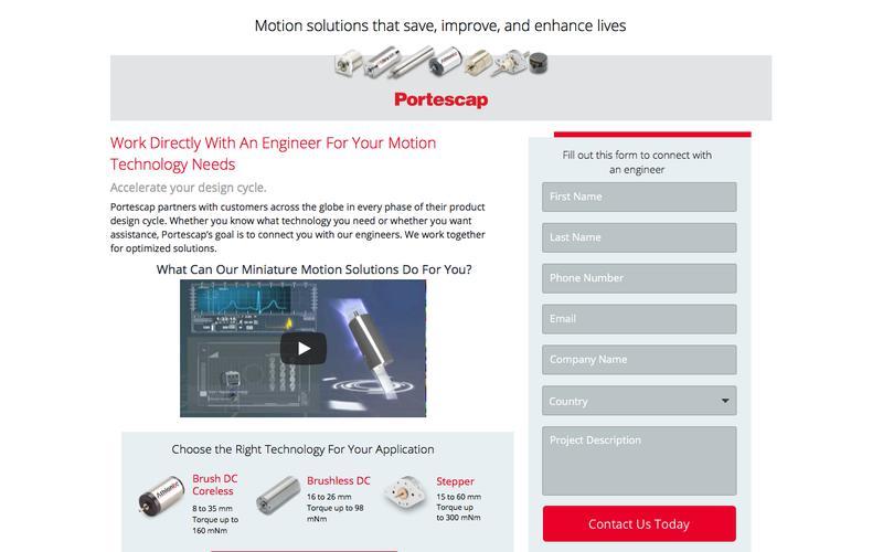 Portescap SEM Landing Pages