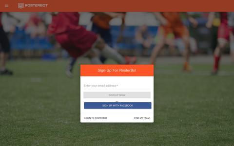 Screenshot of Signup Page rosterbot.com - RosterBot - captured Sept. 23, 2016