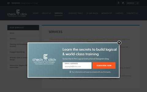 Screenshot of Services Page check-n-click.com - Services | Check N Click Learning and Technologies Pvt. Ltd. - captured Sept. 27, 2018