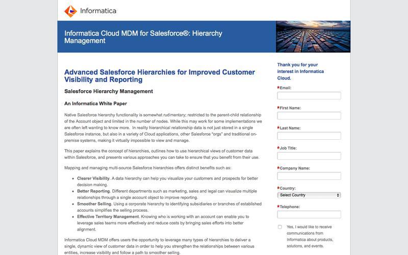 Informatica Cloud MDM for Salesforce: Hierarchy Management - Informatica Cloud