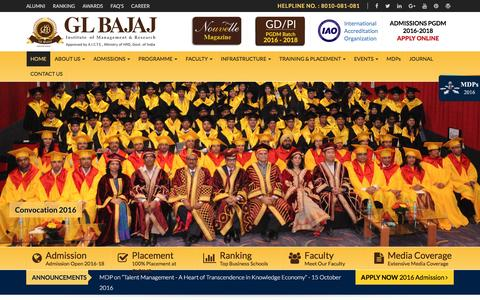 Screenshot of Home Page glbimr.org - Best B School | Top PGDM College in Delhi NCR | MBA Institute | Management Institute | PGDM Admission - captured Oct. 1, 2016