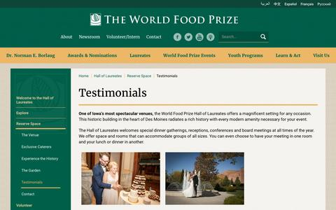 Screenshot of Testimonials Page worldfoodprize.org - Testimonials - The World Food Prize - Improving the Quality, Quantity and Availability of Food in the World - captured Dec. 1, 2016