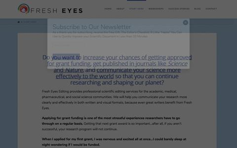 Screenshot of Contact Page fresheyesediting.com - Start Here - Grant Application and Scientific Manuscript Editing - captured Aug. 27, 2018
