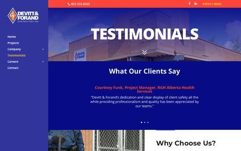 Screenshot of Testimonials Page devitt-forand.com - Testimonials - Devitt-Forand - captured Oct. 9, 2018