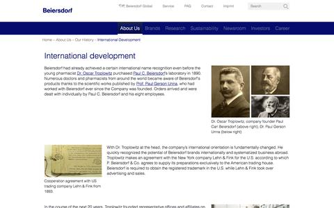 Screenshot of beiersdorf.com - International Development | Beiersdorf - captured Oct. 20, 2017