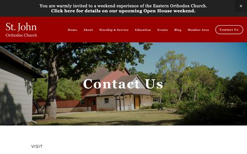 Screenshot of Contact Page theforerunner.org - Contact Us — St. John Orthodox Church - captured Oct. 31, 2018