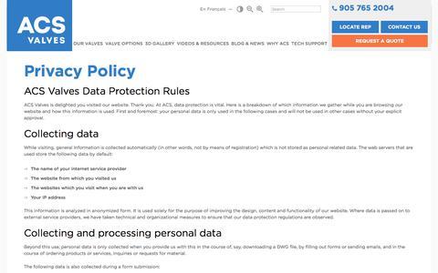 Screenshot of Privacy Page acsvalves.com - Rotary Valves | Rotary Airlock | Rotary Feeder  | ACS Valves - captured July 28, 2018