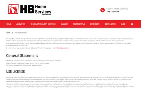 Screenshot of Privacy Page hb-service.biz - HB Home Services Privacy Policy | Home Improvement Services Northern VA | HB Home Services - captured Sept. 25, 2018