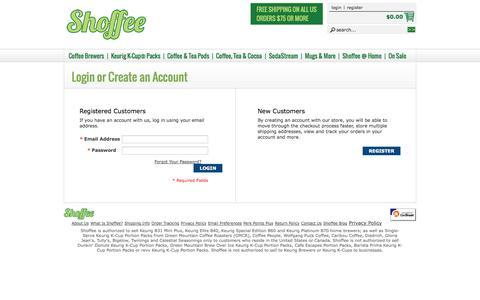 Screenshot of Login Page shoffee.com - Customer Login - captured Oct. 26, 2014