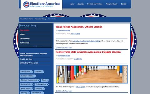 Screenshot of Case Studies Page election-america.com - Election-America | Association Election Examples - Case Studies - captured Oct. 2, 2014