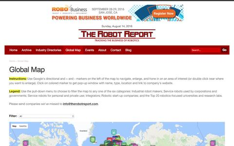 Screenshot of Maps & Directions Page therobotreport.com - Global Map | The Robot Report - tracking the business of robotics - captured Aug. 15, 2016