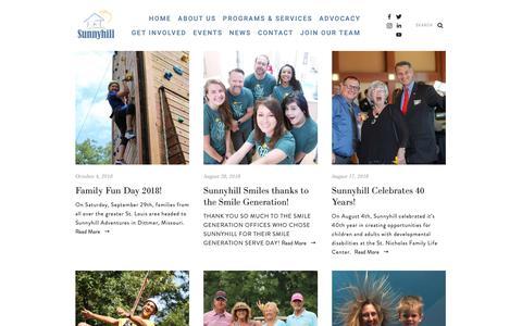 Screenshot of Blog sunnyhillinc.org - Sunnyhill — News - captured Oct. 18, 2018