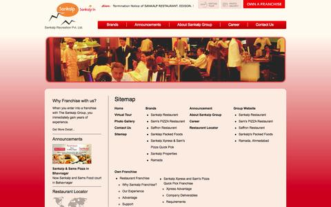 Screenshot of Site Map Page sankalponline.com - Sitemap - captured Oct. 4, 2014