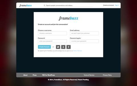 Screenshot of Signup Page framebuzz.com - FrameBuzz - captured Sept. 16, 2014