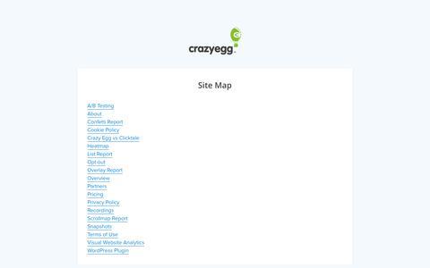 Screenshot of Site Map Page crazyegg.com - Crazy Egg   Site Map - captured Feb. 1, 2019