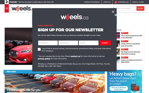 Screenshot of Home Page wheels.ca - Automotive News - Car Reviews - Cars For Sale - WHEELS.ca - captured Jan. 15, 2016