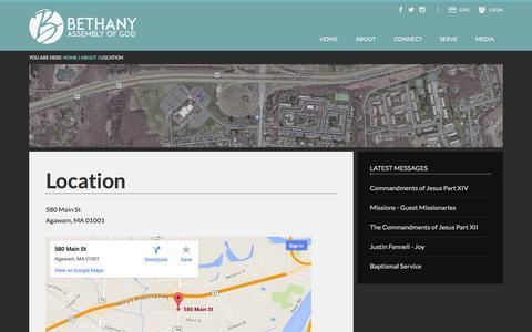 Screenshot of Maps & Directions Page bethany-ag.org - Location - captured Nov. 3, 2014