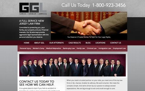 Screenshot of Home Page garcesgrabler.com - Lawyers in NJ | Lawyer | Top Law Firms | Top NJ Law Firms | Garces + Grabler + LeBrocq - captured Oct. 2, 2014