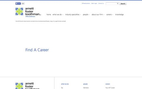 Screenshot of Jobs Page aftcpas.com - Find a Career • Arnett Foster Toothman - captured Oct. 1, 2014