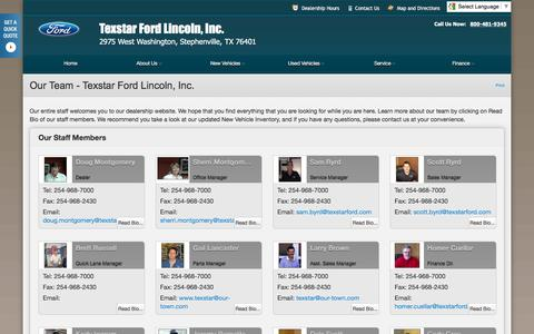 Screenshot of Team Page texstarford.com - Our Team at Texstar Ford Lincoln, Inc. - Your Stephenville, Texas Ford dealer - captured Feb. 16, 2016