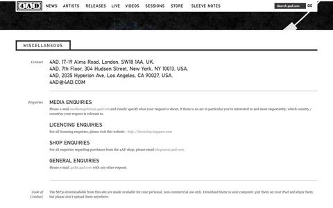 Screenshot of Privacy Page Contact Page Jobs Page 4ad.com - 4AD - Miscellaneous - captured Sept. 19, 2014