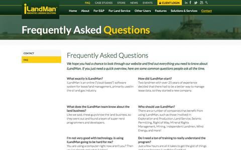 Screenshot of FAQ Page ilandman.com - Frequently Asked Questions about the iLandMan System - captured Oct. 29, 2014