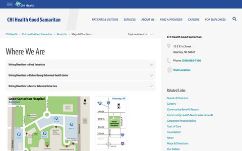 Screenshot of Maps & Directions Page chihealth.com - Maps & Directions - CHI Health Good Samaritan - captured April 30, 2018
