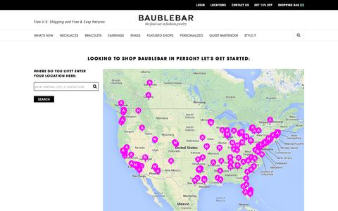 Screenshot of Locations Page baublebar.com - Baublebar Locations   BaubleBar - captured Sept. 13, 2014