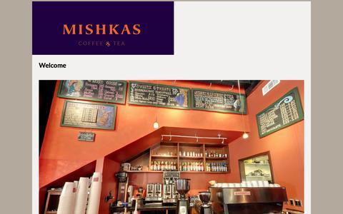 Screenshot of Home Page mishkascafe.com - Mishkas Cafe   Organic Fair Trade Coffee - captured Feb. 16, 2016