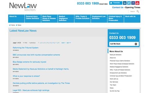 Screenshot of Press Page new-law.co.uk - News | NewLaw Personal Injury solicitors 0333 003 1909 - captured Dec. 18, 2016