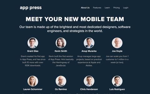 Screenshot of About Page app-press.com - About Us - App Press - captured April 22, 2016