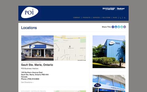 Screenshot of Locations Page poi.ca - Locations | POI Business Interiors | Ontario, Canada, Toronto, GTA, London, Markham, Barrie, Muskoka, Collingwood, Huronia, Sudbury, Northern Ontario, Steelcase, office furniture - captured Oct. 1, 2014